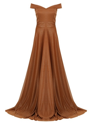 Camel - Fully Lined - Boat neck - Modest Evening Dress