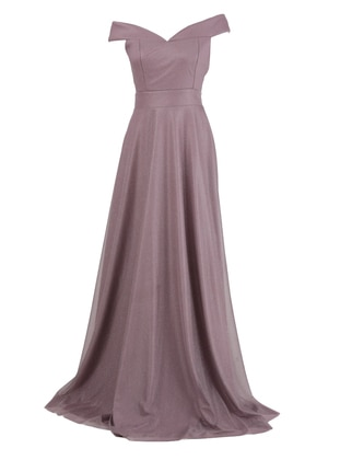 Lilac - Fully Lined - Boat neck - Modest Evening Dress