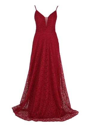 Maroon - Fully Lined - V neck Collar - Modest Evening Dress