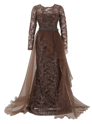 Brown - Fully Lined - Crew neck - Modest Evening Dress