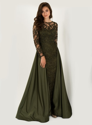 Green - Fully Lined - Crew neck - Modest Evening Dress