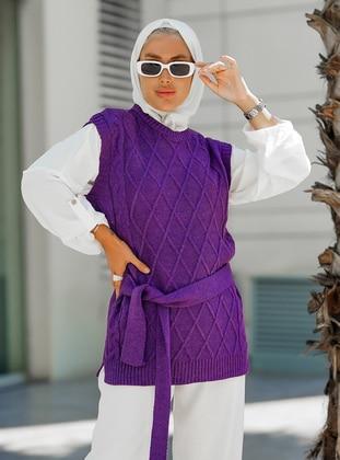 Unlined - Purple - Knit Sweater