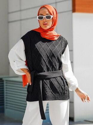 Unlined - Black - Knit Sweater