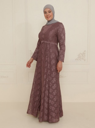 Dusty Rose - Fully Lined - Crew neck - Modest Plus Size Evening Dress
