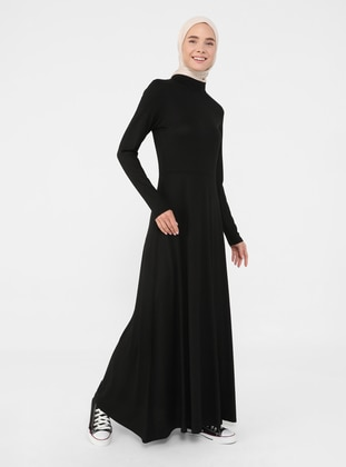 Black - Crew neck - Unlined - Viscose - Modest Dress