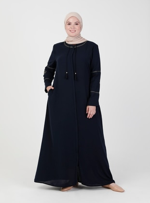 Navy Blue - Crew neck - Unlined - Plus Size Abaya - Jamila