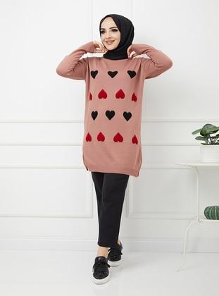 - Heart Print - Crew neck - Acrylic - Triko - Wool Blend - Tunic