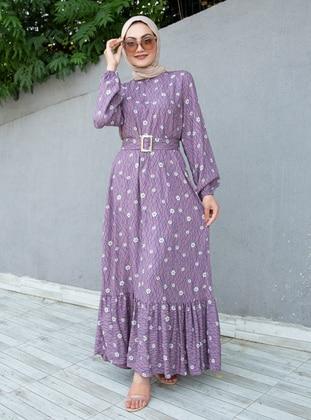 Lilac - Multi - Crew neck - Unlined - Viscose - Modest Dress