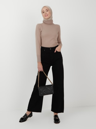 Denim - Cotton - Black - Denim Trousers