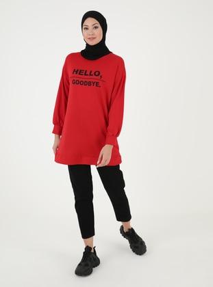 Red - Crew neck - Tunic