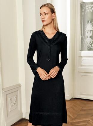 Black - V neck Collar - Nightdress