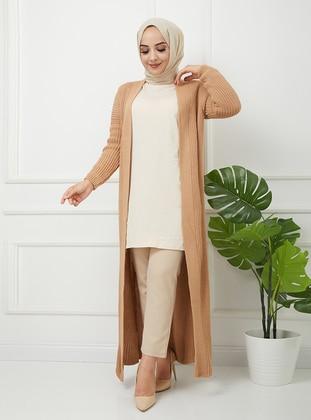 Beige - Acrylic - Triko - Wool Blend - Cardigan