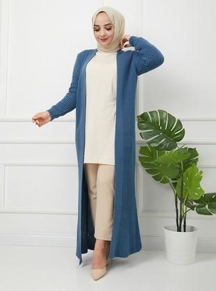 Indigo - Acrylic - Triko - Wool Blend - Cardigan