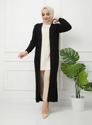 Black - Acrylic - Triko - Wool Blend - Cardigan