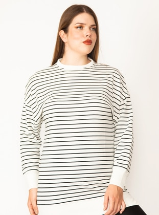 Bone - Cotton - - Plus Size Sweatshirts - Lavien