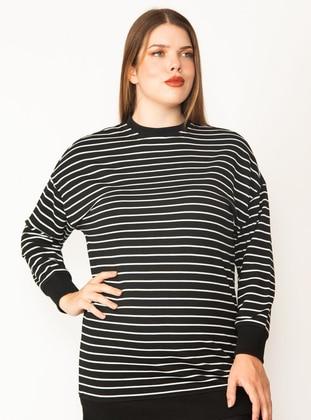 Black - Cotton - - Plus Size Sweatshirts - Lavien