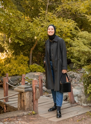 Black - Fully Lined - Point Collar - Trench Coat - Olcay
