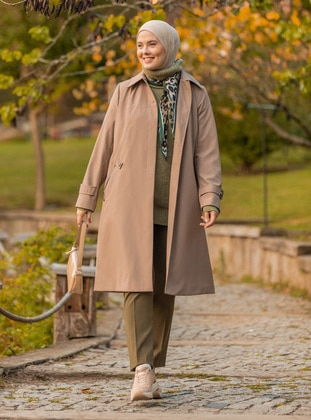 Mink - Fully Lined - Point Collar - Trench Coat - Olcay