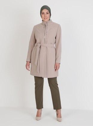 Beige - Fully Lined - V neck Collar - Coat