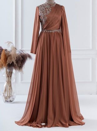 Copper - Fully Lined - Crew neck - Modest Evening Dress