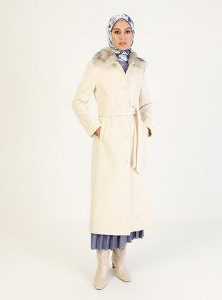 White - Ecru - Fully Lined - V neck Collar - Coat