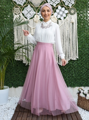 Fully Lined - Powder - Evening Skirt