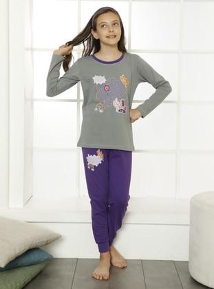 Multi - Crew neck - Gray - Purple - Cotton - Girls` Pyjamas