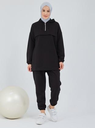 Black - Cotton - Suit