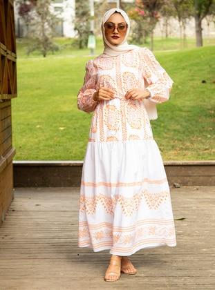 Orange - Multi - Crew neck - Fully Lined - Cotton - Modest Dress