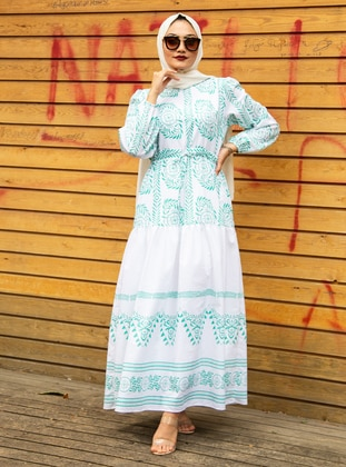 Green - Multi - Crew neck - Fully Lined - Cotton - Modest Dress