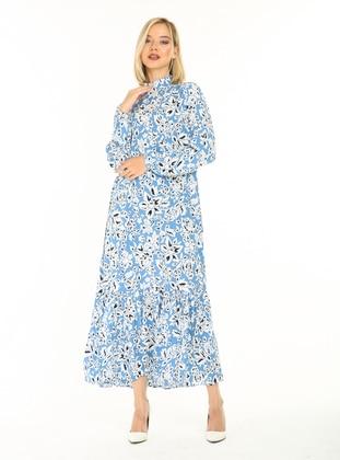 Blue - Multi - Polo neck - Unlined - Cotton - Modest Dress
