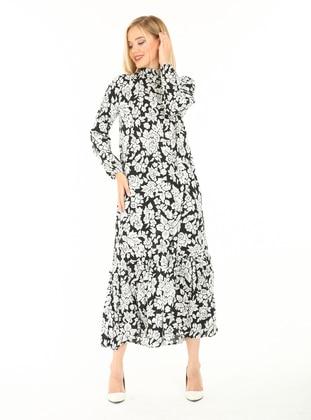 Black - Multi - Polo neck - Unlined - Cotton - Modest Dress