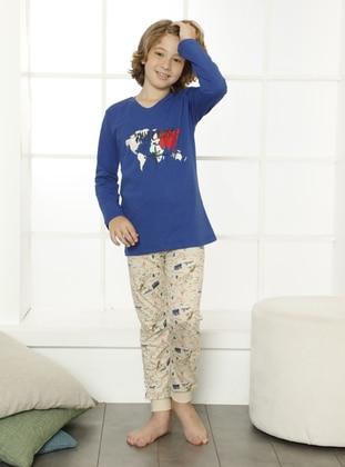 Multi - Crew neck - Saxe - Boys` Pyjamas