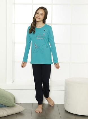 Multi - Crew neck - Navy Blue - Green - Cotton - Girls` Pyjamas