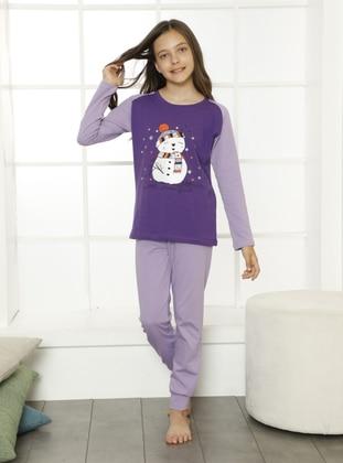 Multi - Crew neck - Lilac - Purple - Cotton - Girls` Pyjamas