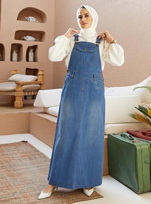 Dark Blue - Denim - Cotton - Skirt Overalls