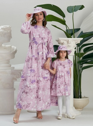 Floral - Crew neck - Fully Lined - Pink - Cotton - Girls` Dress