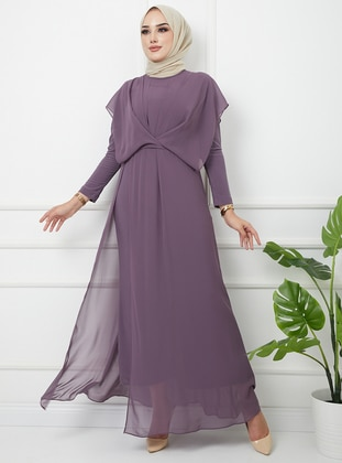 Unlined - Crew neck - Lilac - Evening Jumpsuits