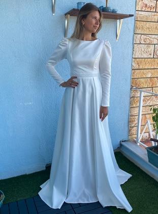 White - Fully Lined - Boat neck - Modest Evening Dress