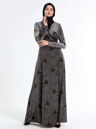 Gray - Green - Floral - Double-Breasted - Unlined - Modest Dress