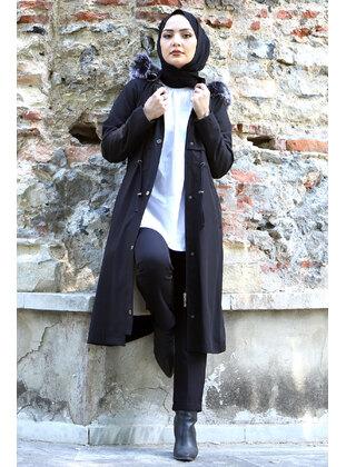 Black - Fully Lined - Crew neck - Plus Size Coat - Tesettür Dünyası