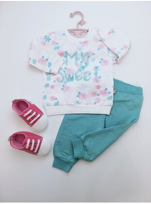 Printed - Crew neck - Unlined - Sea-green - Cotton - Baby Suit