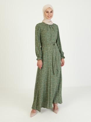 - Floral - Crew neck - Unlined - Modest Dress