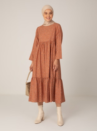Brown - Floral - Crew neck - Unlined - Modest Dress