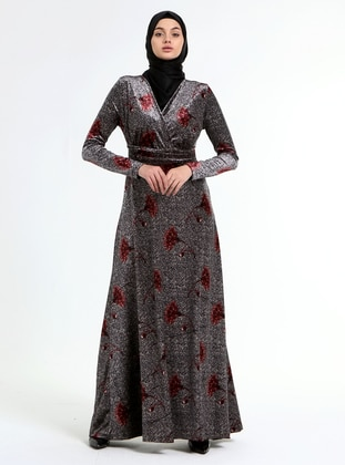 Maroon - Gray - Floral - Double-Breasted - Unlined - Modest Dress