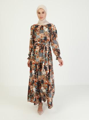 Mink - Multi - Crew neck - Unlined - Modest Dress