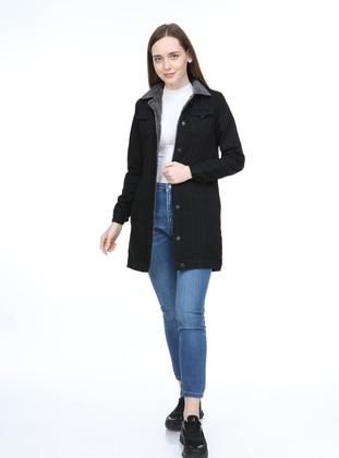 Black - Unlined - Polo - Denim - Cotton - Jacket
