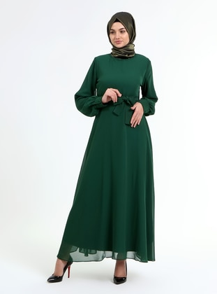 Emerald - Crew neck - Fully Lined - Modest Dress