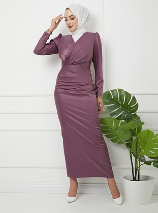 - Unlined - V neck Collar - Modest Evening Dress