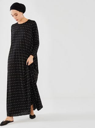 Black - Polka Dot - Crew neck - Modest Dress